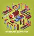 lumberjack isometric vector image vector image