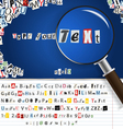 magnifier with set of letters vector image