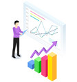 man study complex diagram on background vector image vector image