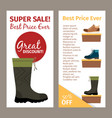 men autumn boots vertical flyers vector image vector image