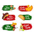 mexican holidays icons fiesta party viva mexico vector image
