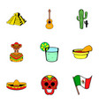 mexico icons set cartoon style vector image
