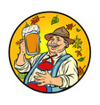 oktoberfest old man with beer vector image