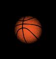 orange basketball on black vector image vector image