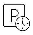 parking clock hours warning transport line style vector image vector image