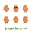 potato smiles cute cartoon emoticons emoji icons vector image vector image
