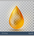 realistic yellow oil drop on white backgrou vector image vector image