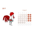 Rooster calendar 2017 for your design August vector image vector image