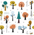 seamless pattern with colorful autumn forest trees vector image