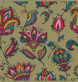 seamless pattern with hand drawn paisley vector image vector image