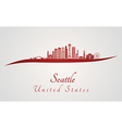 Seattle V2 skyline in red vector image vector image