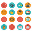 set business icons flat marketing e-commerce vector image vector image