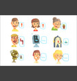 set funny call centre operators with headset vector image