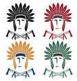 set native american chief man in tribal vector image vector image