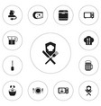set of 12 editable restaurant icons includes vector image vector image