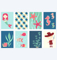 set of banners with cute fairy-tale characters vector image