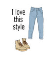 set of womens clothing jeans and boots isolated vector image vector image