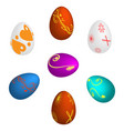 seven easter eggs painted vector image