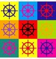 Ship wheel sign vector image vector image