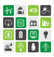 Silhouette electricity and energy icons vector image