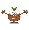 smiling christmas pudding cartoon character vector image vector image