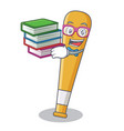 student with book baseball bat character cartoon vector image vector image