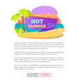 summer hot sale poster tropical beach palm trees vector image vector image