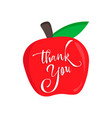 thank you teacher card with an red apple happy