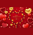 valentines day background with red and golden vector image vector image