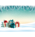 Winter christmas background with colorful presents vector image vector image