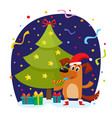christmas greeting card with funny dog character vector image