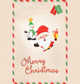 christmas vintage santa claus and snowman postcard vector image