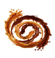 3d realistic swirl chocolate caramel vector image vector image