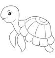 a children coloring bookpage a cartoon turtle vector image