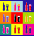 beer bottle sign pop-art style colorful vector image vector image