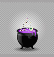 black witch steaming pot cauldron with purple vector image