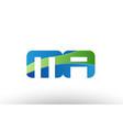 blue green mr m r alphabet letter logo vector image