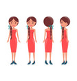 braided pretty women in elegant dresses all sides vector image vector image