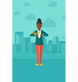 Business woman taking off jacket vector image vector image