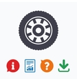 Car wheel sign icon Circular transport component vector image