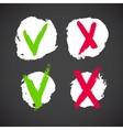 Check mark grunge symbols vector image