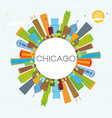 chicago skyline with color buildings and copy vector image vector image