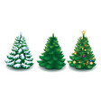 collection of cartoon christmas trees vector image