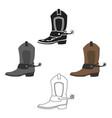 cowboy boot icon cartoonblack singe western icon vector image vector image
