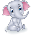 Cute baby elephant sitting isolated vector image vector image
