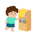 cute boy wiping the dust from bookshelf vector image vector image
