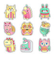 cute colorful cloth patches with animals and birds vector image