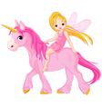 cute little fairy riding on a unicorn vector image