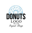 donuts logo original design retro emblem for vector image vector image