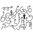 doodle black arrows set vector image vector image